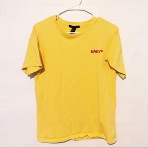 """Yellow """"BABY"""" Embroidered Tee"""